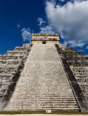 View up the stairs of Kukulkan Pyramid at Chichen Itza, Yucatan, Mexico. Stock Photo