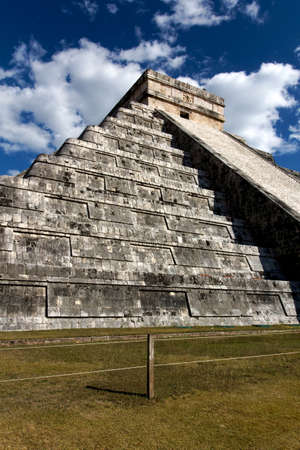 Wide-Angle view up the Mayan pyramid of Kukulkan at Chichen Itza, Yucatan, Mexico. Stock Photo