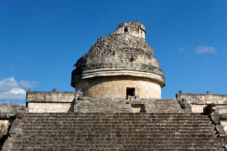 Stairs lead up to the Mayan observatory tower El Caracol (the snail) at Chichen Itza, Yucatan, Mexico. Stock Photo
