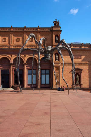Detail of the Kunsthalle art museum in Hamburg, Germany, with Louise Bourgeois