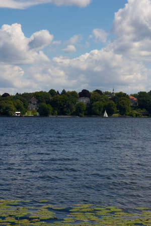 View across lake Wannsee in Berlin, Germany, on a beautiful summer day.