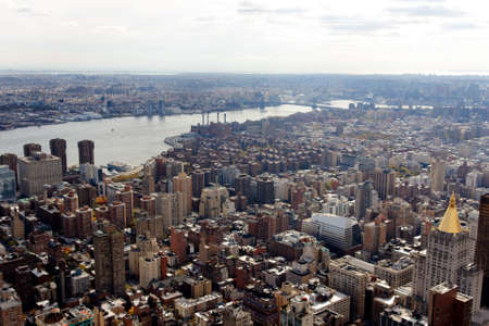 boroughs: A view of the Manhattan cityscape from the Empire State Building in New York, NY, USA