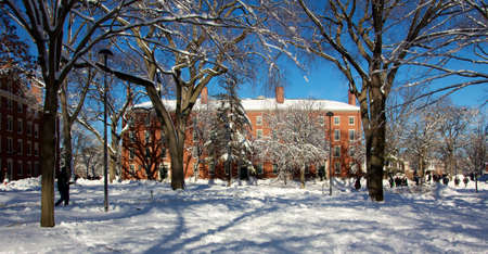 dorm: Red brick dorm building in snow-covered Harvard Yard, the old heart of Harvard University campus in Cambridge, MA. Stock Photo