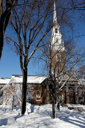 dormitories: Memorial Church at Harvard University campus in Cambridge, MA, the day after a blizzard