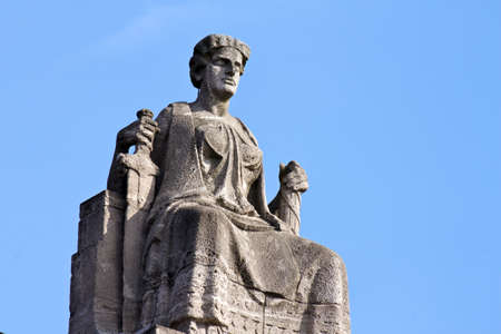 Justitia, Lady Justice, sitting on her throne in Hamburg, Germany
