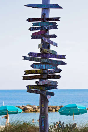 stating: Signpost at a Key West, Florida, beach pointing towards places around the world and stating their distance in miles