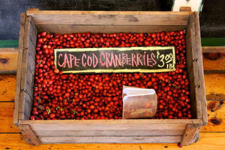 Crate of Cape Cod cranberries at a New England market.