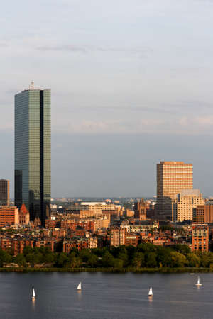 Part of the Boston Back Bay skyline with the landmark John Hancock tower. photo