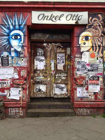 guerilla: Door of bar Onkel Otto in Hamburg Germany  Stock Photo