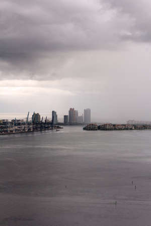 inclement weather: Waterfront areas of Miami, FL, USA after a tropical storm