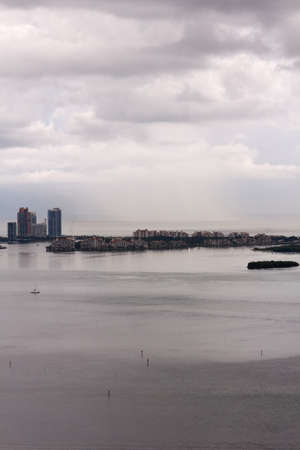 inclement weather: Exclusive Fisher Island off Miami, FL, USA after a tropical storm  Stock Photo