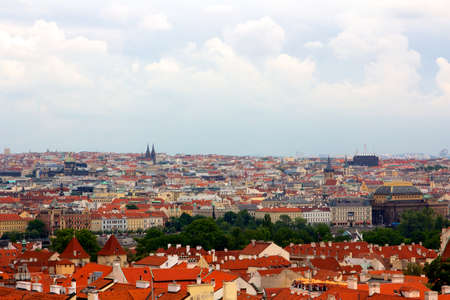 Above the roofs of Prague, old Central European metropolis, modern tourist magnet, and capital of the Czech Republic  photo