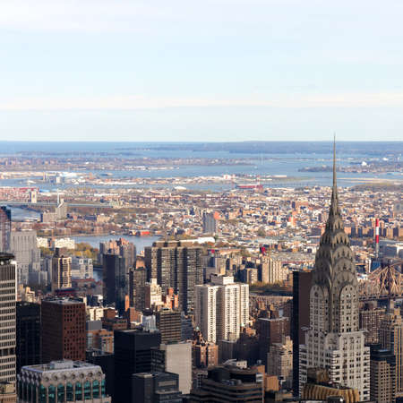 View of the Manhattan cityscape from the Empire State Building in New York, NY  photo