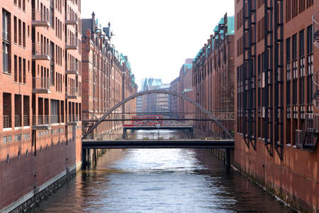 urban redevelopment: Historic harbor storage buildings in the Speicherstadt area of Hamburg, Germany