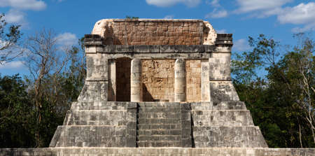 dais: Ruined Mayan dais rises above the Juego de Pelota playing field at Chichen Itza, Yucatan, Mexico
