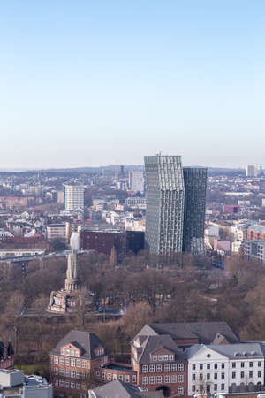 reeperbahn: View over the St  Pauli area in February 2014 in Hamburg, Germany