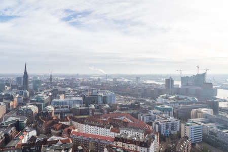 Panoramic view over the Neustadt area towards the HafenCity and the construction site of the Elbphilharmonie in the distance in Febrary 2014 in Hamburg, Germany