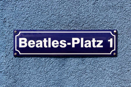 infamous: Street sign of Beatles Square at the corner of Reeperbahn and Große Freiheit, in the middle of the infamous red light district of Hamburg, Germany  Editorial