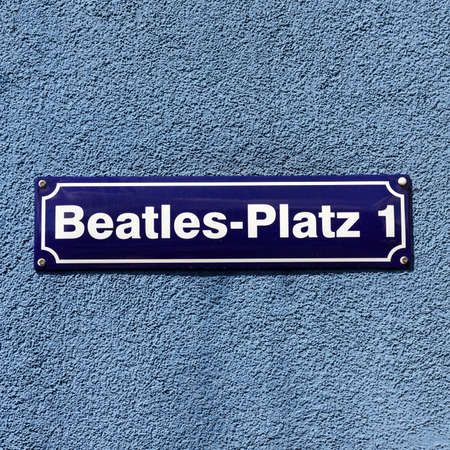 reeperbahn: Street sign of Beatles Square at the corner of Reeperbahn and Große Freiheit, in the middle of the infamous red light district of Hamburg, Germany