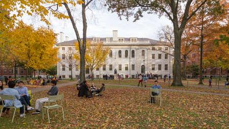 CAMBRIDGE, MA, USA - NOVEMBER 2, 2013  Harvard Yard, old heart of Harvard University campus, on a beautiful Fall day in Cambridge, MA, USA on November 2, 2013