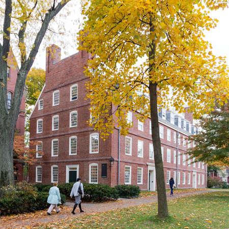 CAMBRIDGE, MA, USA - NOVEMBER 2, 2013  Massachusetts Hall, seat of the President of Harvard University, on a beautiful Fall day in Cambridge, MA, USA on November 2, 2013