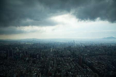 Aerial view of Taipei, Taiwan under a cloudy sky  photo