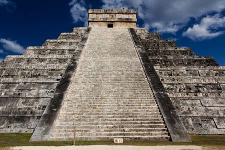 El Castillo, temple pyramid to Mayan serpent god Kukulkan, in Chichen Itza, Yucatan, Mexico  photo