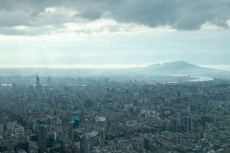 Aerial view of Taipei, Taiwan under a cloudy sky