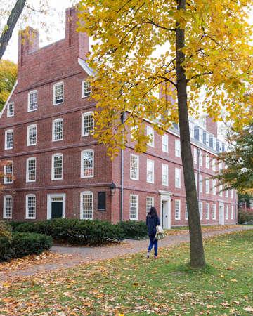 harvard university: CAMBRIDGE, MA, USA - NOVEMBER 2, 2013  Massachusetts Hall, seat of the President of Harvard University, on a beautiful Fall day in Cambridge, MA, USA on November 2, 2013