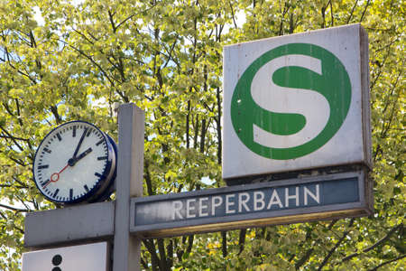 reeperbahn: Sign for the Reeperbahn station in the middle of the infamous red light district in Hamburg, Germany