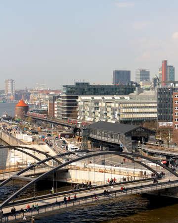 u bahn: HAMBURG, GERMANY - APRIL 14, 2012  Elevated view of the Hamburg Baumwall area in Hamburg, Germany on April 14, 2012