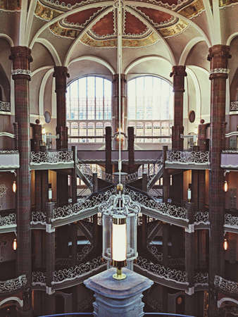 palatial: Interior view of the Landgericht Berlin-Mitte courthouse in Berlin, Germany.