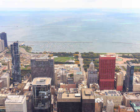 il: CHICAGO, IL, USA - OCTOBER 3, 2014: Aerieal view of the downton Chicago cityscape from Willis Tower in Chicago, IL, USA on October 3, 2014.