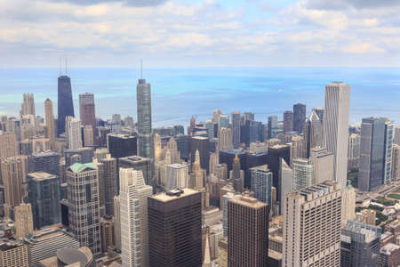 willis: CHICAGO, IL, USA - OCTOBER 3, 2014: Aerial view of the downtown Chicago cityscape from Willis Tower in Chicago, IL, USA on October 3, 2014.