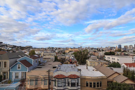 urban sprawl: View over the rooftops of San Francisco from the CastroMission-Dolores area in San Francisco, CA in October 2014. Stock Photo