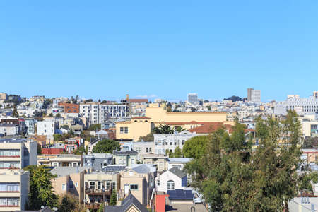 urban sprawl: View over the rooftops of San Francisco from the CastroMission-Dolores area in San Francisco, CA in October 2014. Editorial