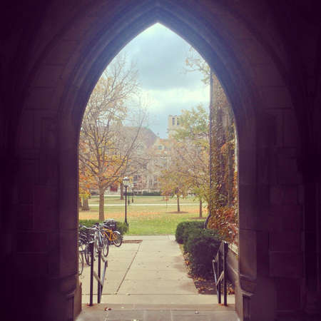 Archway at University of Chicago campus in Chicago, IL, USA.
