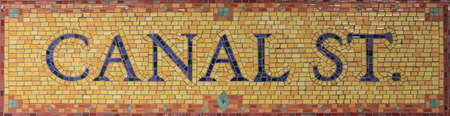 u bahn: Mosaic sign for the Canal Street subway stop in Lower Manhattan, New York, NY, USA.