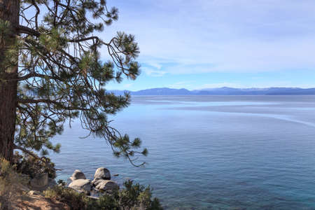 nv: View across majestic Lake Tahoe from its shores near Incline Village, NV, USA.