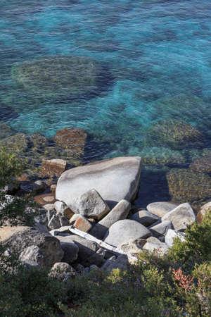 tahoe: Rocks on the shore of Lake Tahoe, Incline Village, NV, USA. Stock Photo