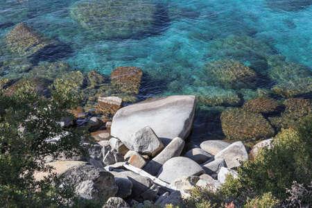nv: Rocks on the shore of Lake Tahoe, Incline Village, NV, USA. Stock Photo