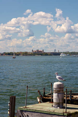 ellis: Ellis Island in New York Harbor seen from New York, NY, USA on September 9, 2012.