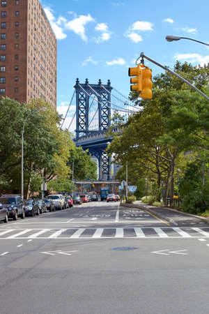 lower east side: View down Pike Street at the Manhattan Bridge in the Lower East Side, New York, NY, USA.