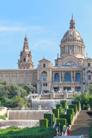 nacional: BARCELONA, SPAIN - SEPTEMBER 12, 2014: View up Montjuic at the Palau Nacional in Barcelona, Spain on Semptember 12, 2014.
