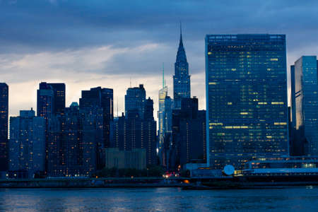 united nations: View of the Midtown Manhattan East River waterfront with the United Nations HQ in New York, NY, USA. Stock Photo