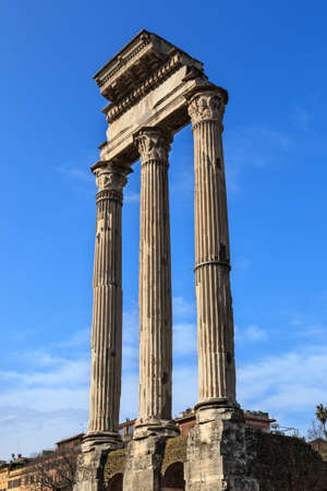 Three re-erected columns  standing of the Temple of Castor and Pollux on the Forum Romanum in Rome, Italy.