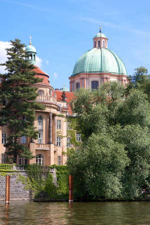 vltava: Historic buildings on the Vltava river in Prague, Czech Republic.
