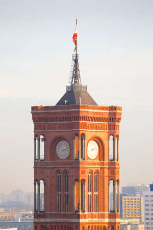 rote: Closeup of the tower of the Rote Rathaus red city hall seat of the governing mayor of Berlin Germany. Stock Photo