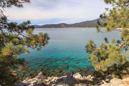 across: View across majestic Lake Tahoe from its shores near Incline Village, NV, USA.