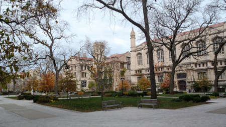 On the campus of the University of Chicago on an overcast Fall day in Chicago, IL, USA.